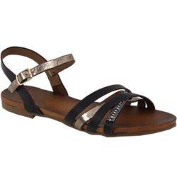Προσφορά από το Inshoes σε InShoes  - Γυναικεία σανδάλια με χιαστί λουριά και στρασάκια Μαύρο - DealFinder.gr