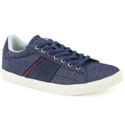 Προσφορά από το Inshoes σε InShoes  - Ανδρικά sneakers με τζιν ύφασμα και λευκή σόλα Μπλε Ύφασμα - DealFinder.gr