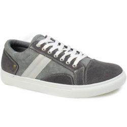Προσφορά από το Inshoes σε InShoes  - Ανδρικά sneakers με τζιν ύφασμα και λευκά κορδόνια Γκρι Ύφασμα - DealFinder.gr