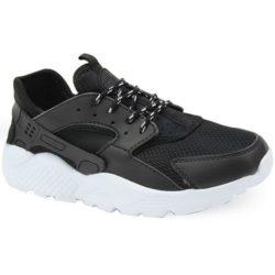 Προσφορά από το Inshoes σε InShoes  - Γυναικεία αθλητικά με λευκή ελαστική σόλα Μαύρο Δερματίνη - DealFinder.gr