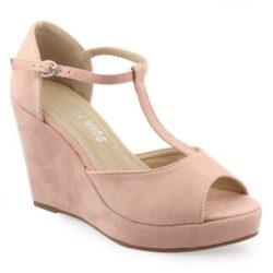 Προσφορά από το Inshoes σε InShoes  - Γυναικείες πλατφόρμες μονόχρωμες με T-strap Ροζ Συνθετικό Καστόρι - DealFinder.gr