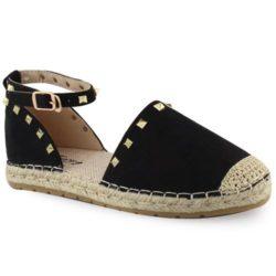 Προσφορά από το Inshoes σε InShoes  - Γυναικείες εσπαντρίγιες με χρυσά stubs Μαύρο Συνθετικό Καστόρι - DealFinder.gr
