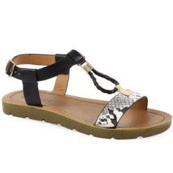Προσφορά από το Inshoes σε InShoes  - Γυναικεία σανδάλια με T-strap και snake skin σχέδιο Μαύρο Δερματίνη - DealFinder.gr