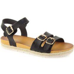Προσφορά από το Inshoes σε InShoes  - Γυναικεία σανδάλια με φάσα με διπλά τοκά Μαύρο Δερματίνη - DealFinder.gr