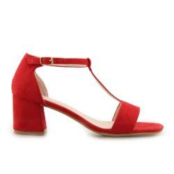 Προσφορά από το Inshoes σε InShoes  - Γυναικεία πέδιλα με T-strap δέσιμο Κόκκινο - DealFinder.gr