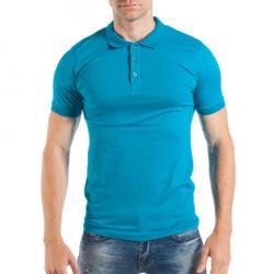 Προσφορά από το Fashionmix σε Breezy  - Ανδρική κοντομάνικη πόλο σε γαλάζιο χρώμα - DealFinder.gr