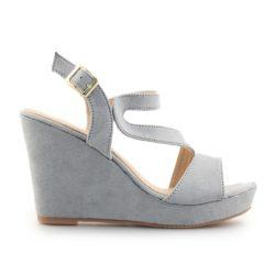 Προσφορά από το Inshoes σε InShoes  - Γυναικείες πλατφόρμες με λεπτομέρειες από λουράκια Γκρι - DealFinder.gr