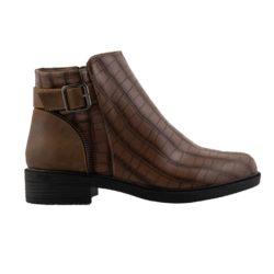 Προσφορά από το Inshoes σε InShoes  - Γυναικεία μποτάκια κροκό με λεπτομέρεια Πούρο - DealFinder.gr