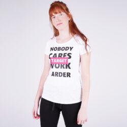 """Προσφορά από το Cosmossport σε Target  - Target T Shirt K/M Καλτσα Φλαμα """"Work Harder"""" Γυναικεία Μπλούζα (9000053644_3198) - DealFinder.gr"""